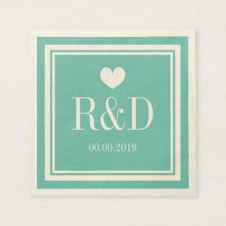 Teal blue and ecru monogram paper wedding napkins paper napkin
