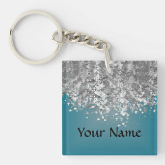 Teal blue and faux glitter key ring