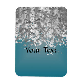 Teal blue and faux glitter rectangular magnets