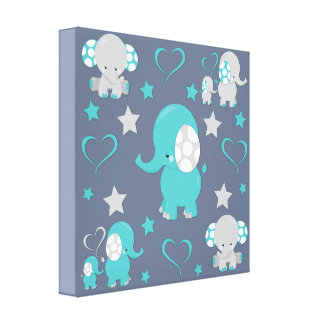 Teal Blue and Gray Baby Elephants Pattern Print
