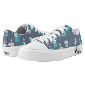 Teal Blue and Gray Baby Elephants Pattern Print Low Tops