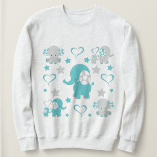 Teal Blue and Gray Baby Elephants Pattern Print Sweatshirt