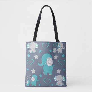 Teal Blue and Gray Baby Elephants Pattern Print Tote Bag