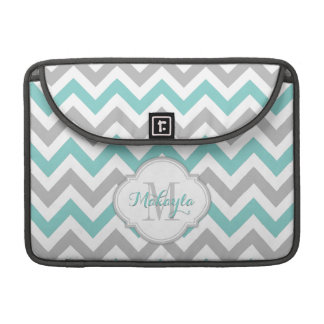 Teal Blue and Gray Chevron Pattern with monogram. Sleeve For MacBook Pro