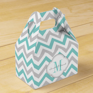 Teal Blue and Gray Chevron Pattern with Monogram Wedding Favour Box