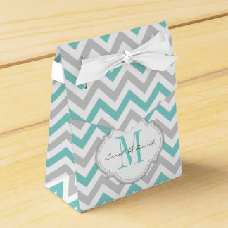 Teal Blue and Gray Chevron Pattern with Monogram Wedding Favour Boxes