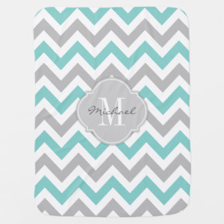 Teal Blue and Gray Chevron with Monogram Pram blankets