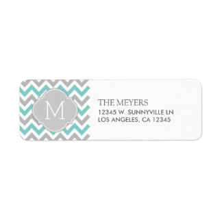 Teal Blue and Gray Modern Chevron with Monogram Return Address Label