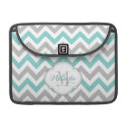 Teal Blue and Grey Chevron Pattern with monogram. Sleeve For MacBook Pro