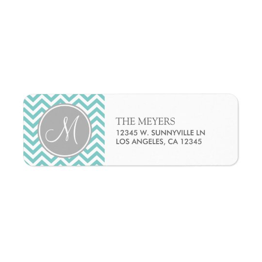Teal Blue and Grey Modern Chevron with Monogram Return Address Label