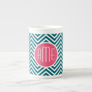 Teal Blue and Hot Pink Chevrons Custom Monogram Tea Cup