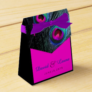 Teal Blue and Hot Pink Peacock Wedding Favour Boxes