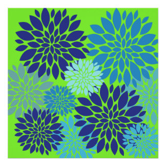 Teal Blue and Lime Green Flower Art Floral Print