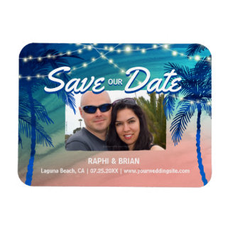 Teal Blue and Peach Tropical Save the Date Magnets