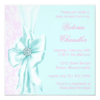 Teal Blue and Pink Damask Baby Girl Shower 13 Cm X 13 Cm Square Invitation Card