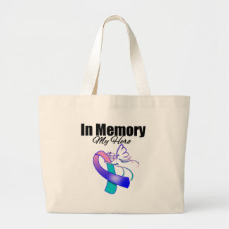 Teal, Blue and Pink Ribbon In Memory of My Hero Bags