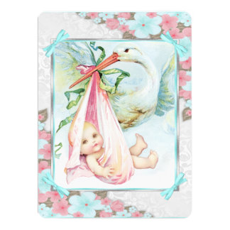 """Teal Blue and Pink Stork Baby Shower 6.5"""" X 8.75"""" Invitation Card"""