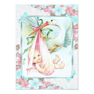 Teal Blue and Pink Stork Baby Shower Personalized Invitations