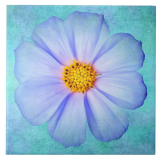 Teal Blue and Purple Daisy on Aqua Watercolor Large Square Tile