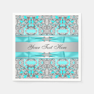 Teal Blue and Silver Disposable Napkins