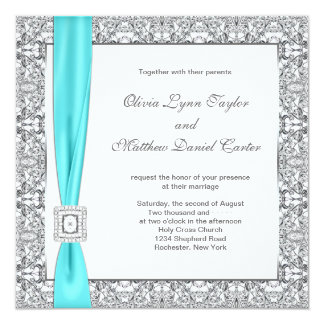 """Teal Blue and Silver Wedding 5.25"""" Square Invitation Card"""