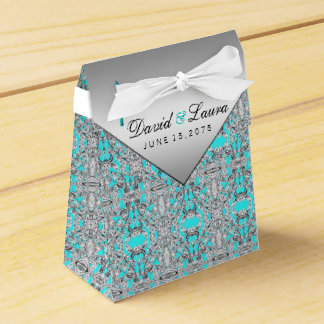 Teal Blue and Silver Wedding Party Favor Box