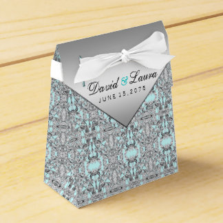 Teal Blue and Silver Wedding Party Favor Boxes