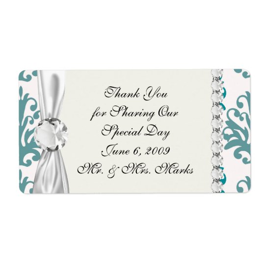 teal blue and slate blue damask on white shipping label