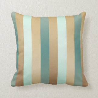 Teal Blue and Tan Multicolored Stripes Throw Pillow