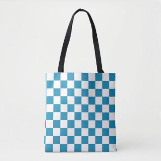 Teal Blue and White Checkerboard Pattern Tote Bag
