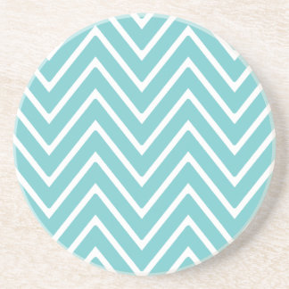 Teal Blue and White Chevron Pattern 2 Coaster