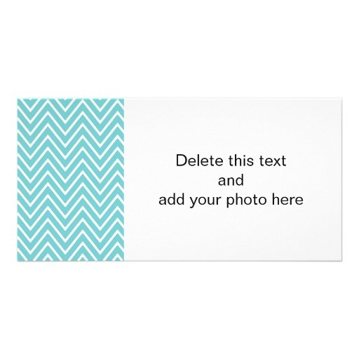 Teal Blue and White Chevron Pattern 2 Photo Greeting Card