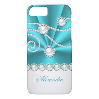 Teal Blue and White Faux Diamond Jewel iPhone 8/7 Case