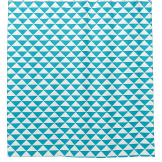 Teal Blue and White Geometric Pattern Shower Curtain