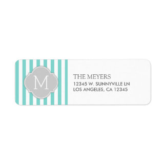 Teal Blue and White Modern Stripes with Monogram Return Address Label
