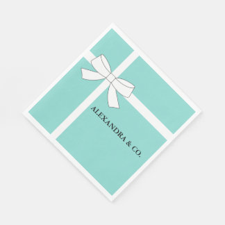 Teal Blue And White Personalized Party Napkins Paper Serviettes
