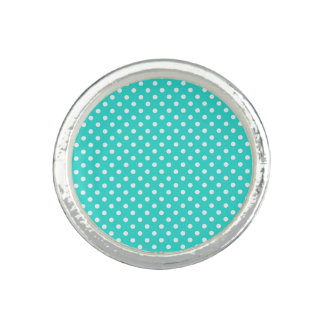 Teal Blue and White Polka Dots Pattern