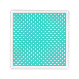 Teal Blue and White Polka Dots Pattern Acrylic Tray