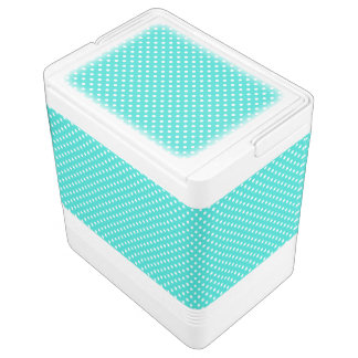 Teal Blue and White Polka Dots Pattern Cooler
