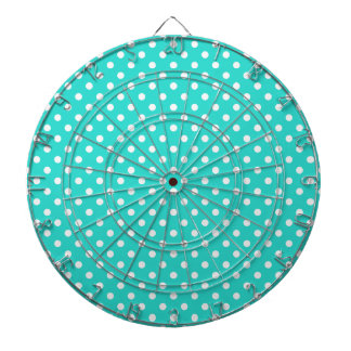 Teal Blue and White Polka Dots Pattern Dartboard