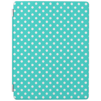 Teal Blue and White Polka Dots Pattern iPad Cover