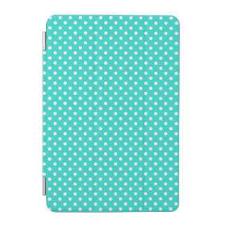 Teal Blue and White Polka Dots Pattern iPad Mini Cover