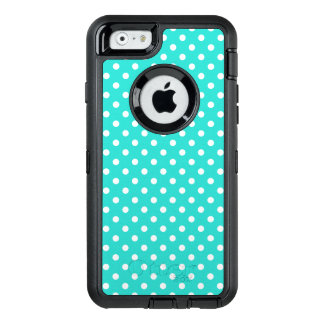 Teal Blue and White Polka Dots Pattern OtterBox Defender iPhone Case