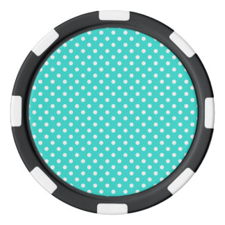 Teal Blue and White Polka Dots Pattern Poker Chips
