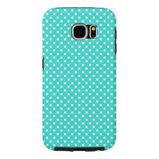Teal Blue and White Polka Dots Pattern Samsung Galaxy S6 Cases