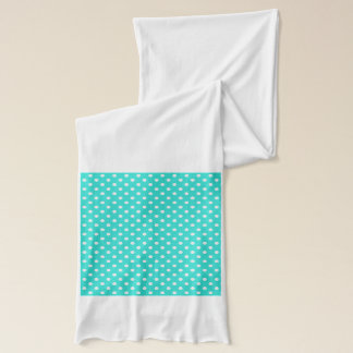 Teal Blue and White Polka Dots Pattern Scarf