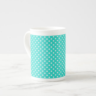 Teal Blue and White Polka Dots Pattern Tea Cup