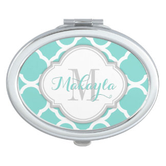 Teal Blue and White quatrefoil with Monogram Compact Mirror