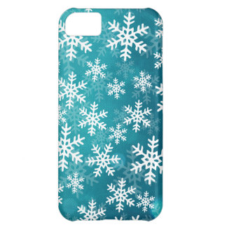 Teal Blue and White Snowflakes iPhone 5C Case