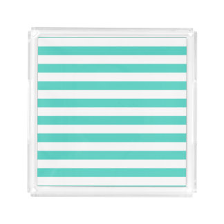 Teal Blue and White Stripe Pattern Acrylic Tray